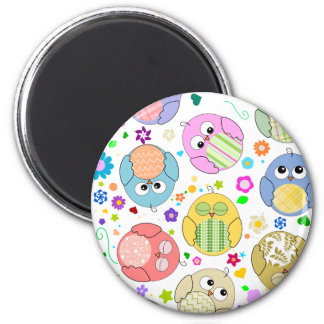 Cute Owls and Flowers pattern Magnet