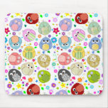 Cute Owls and Flowers pattern Mouse Pad