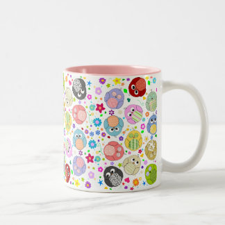 Cute Owls and Flowers pattern Coffee Mugs