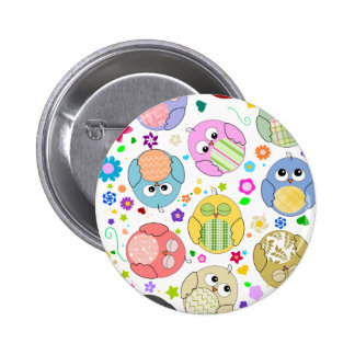 Cute Owls and Flowers pattern Pinback Button