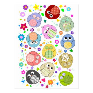 Cute Owls and Flowers pattern Postcard