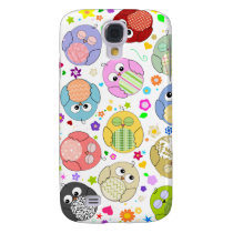 Cute Owls and Flowers pattern Samsung Galaxy S4 Cover
