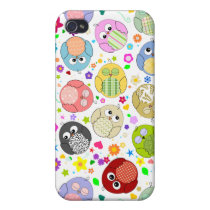 Cute Owls and Flowers pern iPhone 4/4S Case