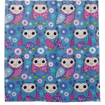 Cute Owls And Flowers Shower Curtain