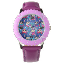 Cute Owls And Flowers Watch