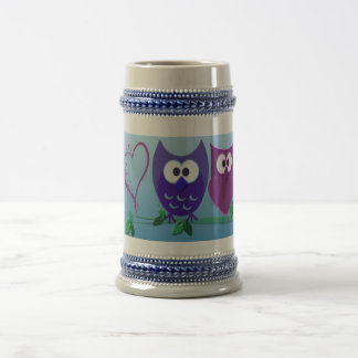 Cute Owls and Heart Beer Stein