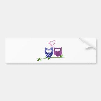 Cute Owls and Heart Bumper Sticker
