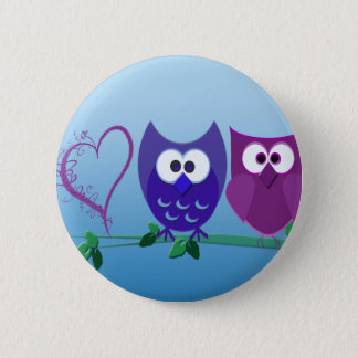 Cute Owls and Heart Pinback Button
