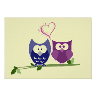 Cute Owls and Heart Poster