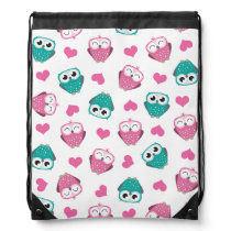 Cute Owls and Hearts Pattern Drawstring Backpack