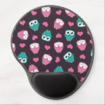 "Cute Owls and Hearts Pattern Gel Mouse Pad<br><div class=""desc"">A cute pattern featuring pink owls,  blue owls,  and love hearts on a dark brown background. Copyright &#169; Lisa Marie Robinson All rights reserved. It is illegal to use or duplicate this,  or any of our images,  without written permission.</div>"