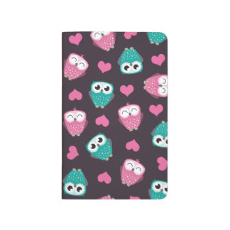 Cute Owls and Hearts Pattern Journal