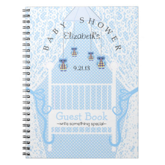 Cute Owls and Lace Baby Shower Guest Book- Notebook