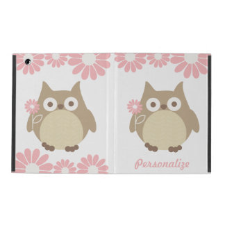 Cute Owls and Pink Flowers Personalized iPad Folio Case