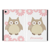Cute Owls and Pink Flowers Personalized iPad Mini Cover