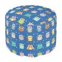 Cute Owls and Stars Pattern Pouf for Kids