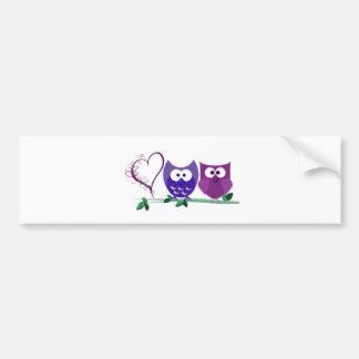 Cute Owls and swirly heart Bumper Sticker