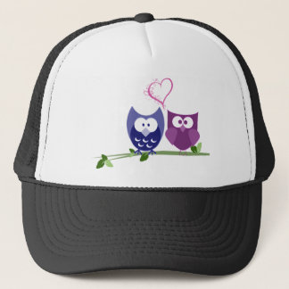 Cute Owls and swirly heart Valentine gifts Trucker Hat