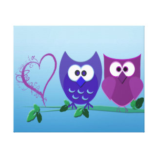 Cute Owls and Swirly Heart Wrapped Canvas Canvas Print