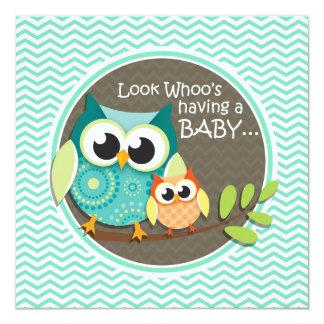 Cute Owls; Aqua Green Chevron 5.25x5.25 Square Paper Invitation Card