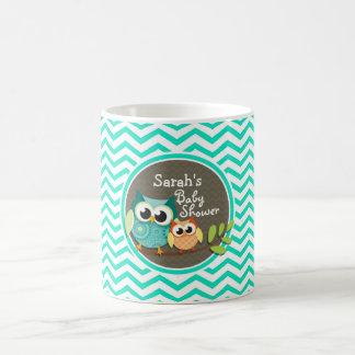 Cute Owls Aqua Green Chevron Mugs