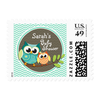 Cute Owls; Aqua Green Chevron Postage