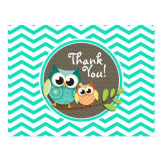 Cute Owls; Aqua Green Chevron Postcard