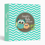 Cute Owls; Aqua Green Chevron Vinyl Binders