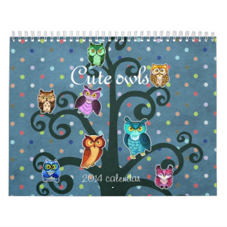 Cute owls art calendars