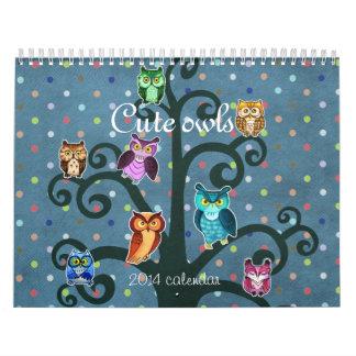Cute owls art calendar