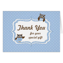 Cute Owls Baby Boy Shower Thank You Card