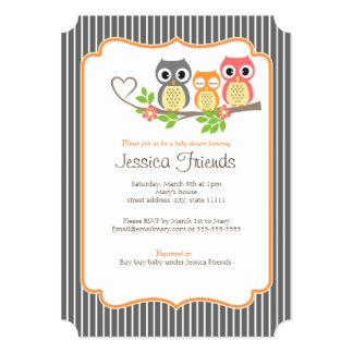 "cute owls baby girl shower 5"" X 7"" invitation card"