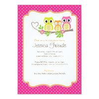 cute owls baby girl shower invitation