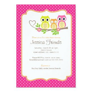 cute owls baby girl shower invitation