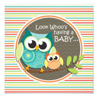Cute Owls Baby Shower, Bright Rainbow Stripes 5.25x5.25 Square Paper Invitation Card