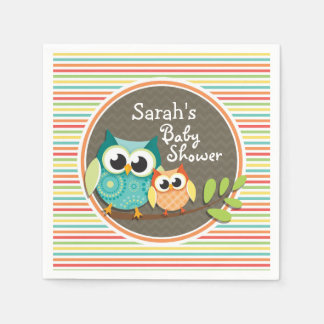 Cute Owls Baby Shower, Bright Rainbow Stripes Paper Napkin