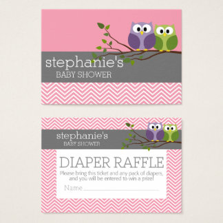 Cute Owls Baby Shower Games - Diaper Raffle Business Card