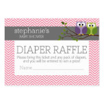 Cute Owls Baby Shower Games - Diaper Raffle Large Business Cards (Pack Of 100)
