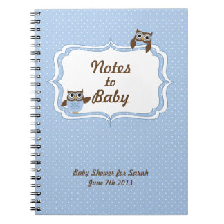 Cute Owls Baby Shower Notes to Baby Notebook