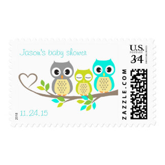 cute owls baby shower stamps