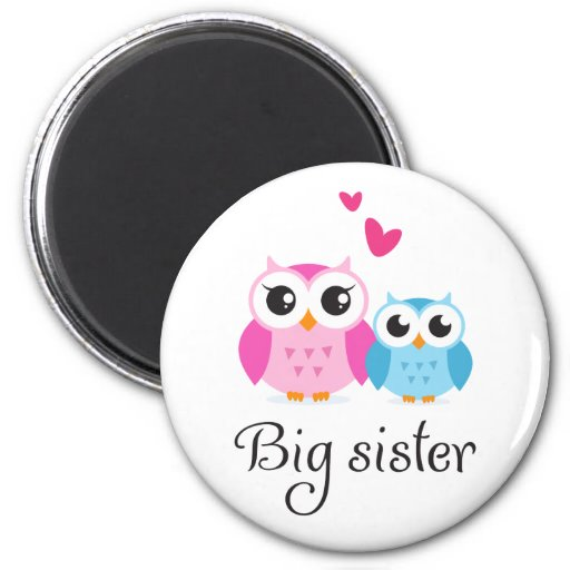Cute owls big sister little brother cartoon 2 inch round magnet