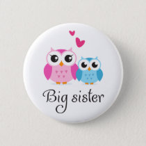 Cute owls big sister little brother cartoon button