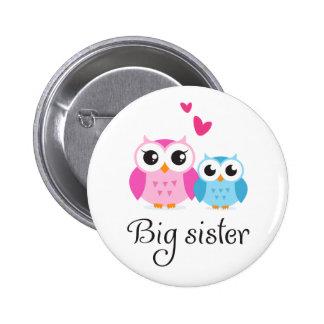 Cute owls big sister little brother cartoon button