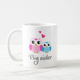 Cute owls big sister little brother cartoon classic white coffee mug