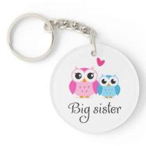 Cute owls big sister little brother cartoon keychain
