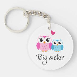 Cute owls big sister little brother cartoon Single-Sided round acrylic keychain