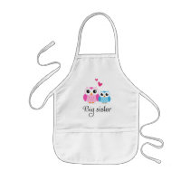 Cute owls big sister little brother cartoon kids' apron