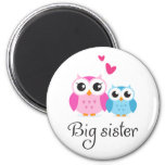 Cute owls big sister little brother cartoon magnets
