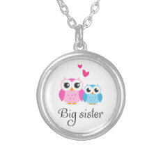Cute Owls Big Sister Little Brother Cartoon Silver Plated Necklace at Zazzle