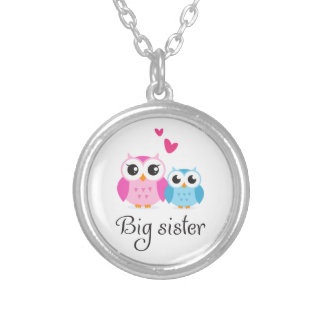 Cute owls big sister little brother cartoon silver plated necklace
